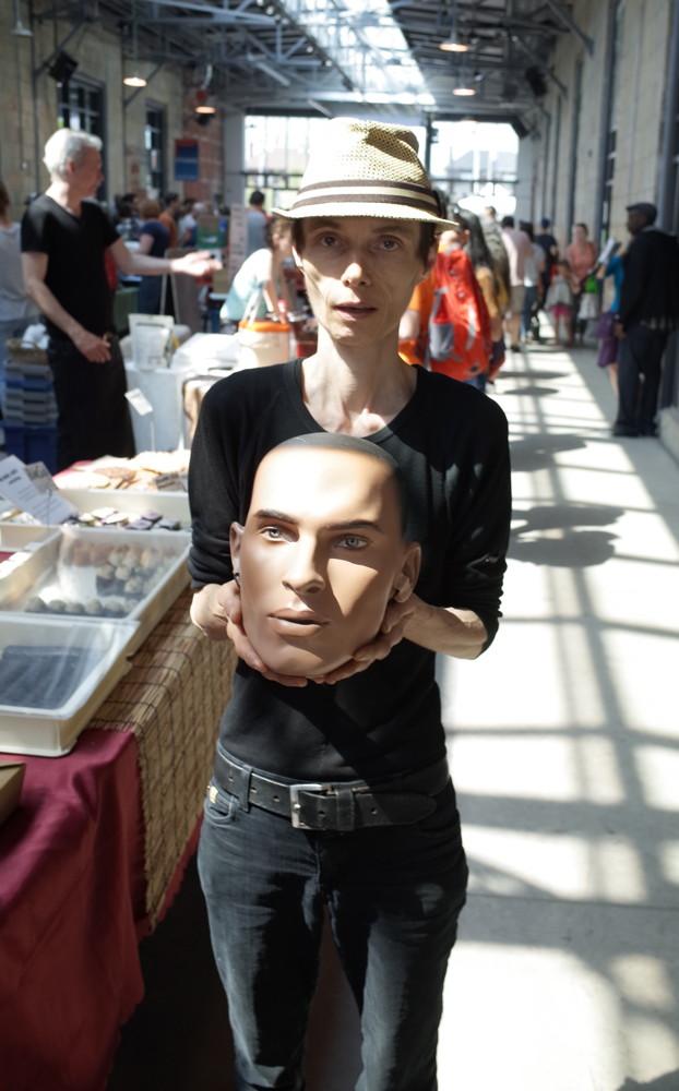 Toronto-based artist Claude Wittmann holds Leslie in awe